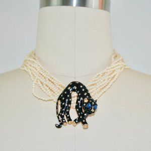 Jewelry - Vintage 1940s Pearl and Panther Brooch Necklace